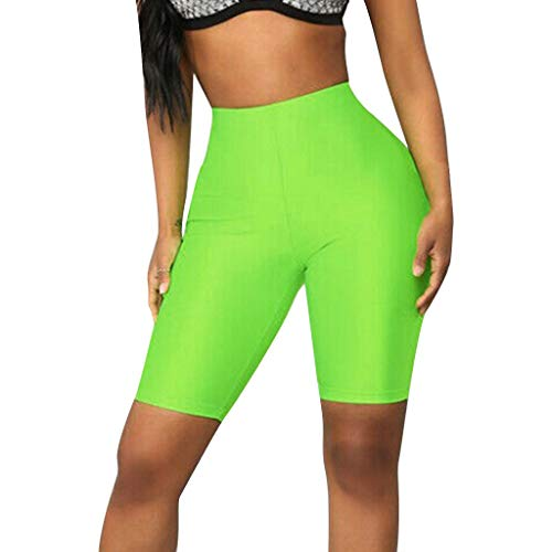 Kinlene Leggings Push Up Mujer Yoga Pantalones Deportivos Mujer Color Sólido Running Fitness Leggins Pantalon Yoga Mujer Corto (Verde,S)