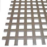 B&T Metall Edelstahl V2A Lochblech Zuschnitt, blank gewalzt | 1,5mm stark | Quadratlochung 10x10mm gerade QG 10-15 | Größe 30 x 30 cm (300 x 300 mm)