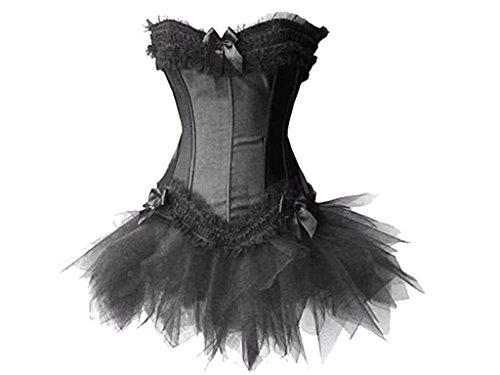 Burlesque Korsett & Tutu–Fancy Kleid Lolita Outfit–Schwarz–Größe 14UK