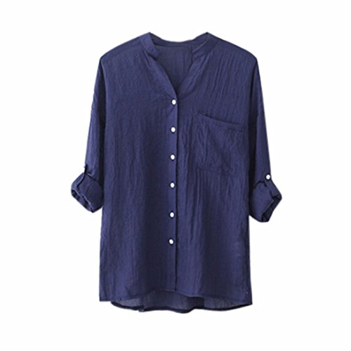HARRYSTORE Women Cotton Linen Solid Long Sleeve Shirt Casual Loose Blouse Button Down Tops