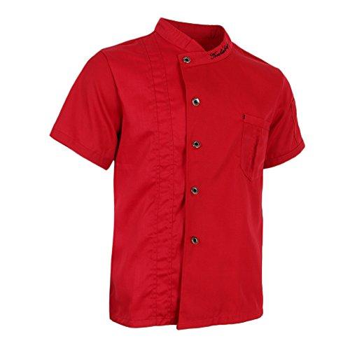 P Prettyia Atmungsaktive Kurzarm Kochjacke Backjacke Kochkleidung Koch Gastronomie Berufsbekleidung Arbeitskleidung für Restaurant Gastronomie - Rot, 2XL - 4