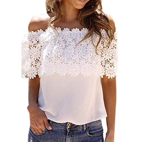 LIGHTBLUE Summer Lace Top Kurzarm Schulterfrei Bluse Damen Casual Tops T-Shirt, weiß, 2XL -