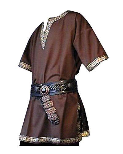 LiangZhu Herren Steampunk Kurze Ärmel Gothic Mittelalterliches Renaissance Jacke Cosplay Uniform Ohne Gürtel Braun L (Lustige Herren Halloween-kostüme Günstige)