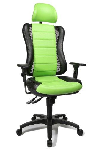 """Topstar HE30PS105X Head Point RS \""""P4\"""", Bürostuhl, Schreibtischstuhl, inkl. höhenverstellbare Armlehnen, Kopfstütze, Polsterung grün/schwarz"""