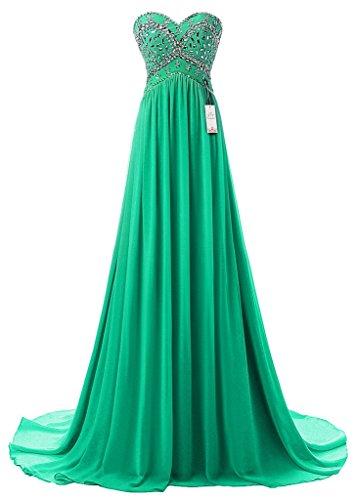 Eudolah Maxi Robe de soiree ceremonie bustier en coeur ornee de perle sur la poitrine en mousseline Femme Vert