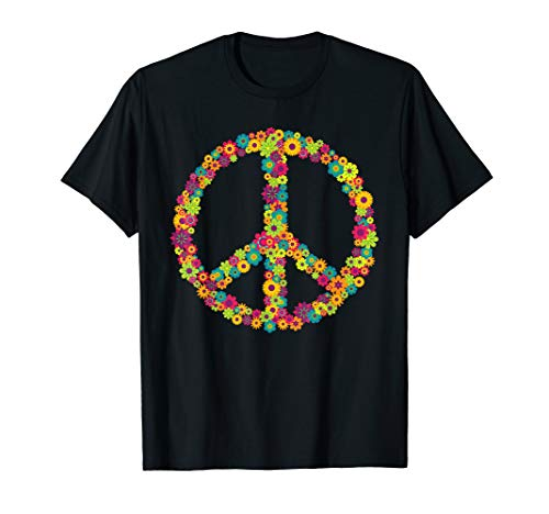 70er Jahre Retro T-shirts (Peace Love 60er 70er Jahre Flower Power Hippie Kostüm Shirt)