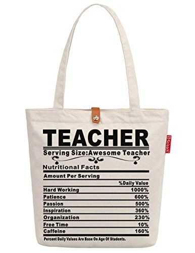 Soeach Womens Awesome Teacher Gift Graphic Top Handle Canvas Tote Shopping Bag