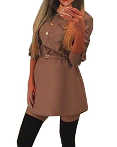 ZANZEA Femme Mousseline Soie Sexy Manches Longues Tunique Mini Robe Longues Chemise Kaki