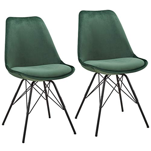 Duhome 2er Set Esszimmerstuhl Stoff Samt Grün Küchenstuhl Metallbeine Sitzkissen Retro Farbauswahl 518MJ