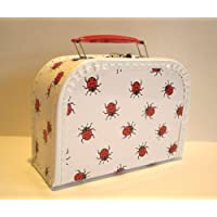 Suitcase, board, white with ladybirds, 20 cm