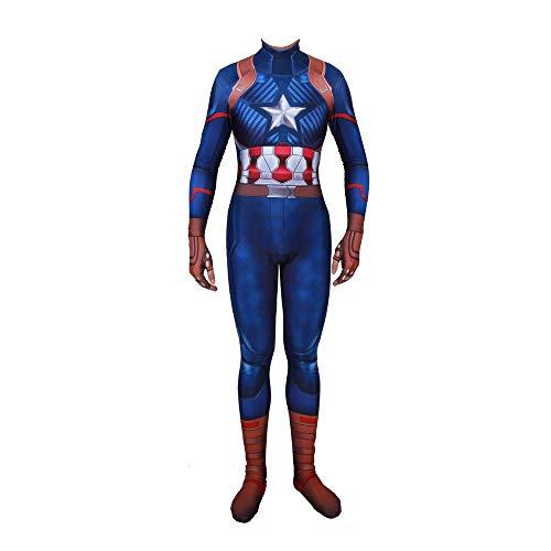 werty Cosplay Kleidung Marvel Film Captain America Cosplay Kostüm Lycra Siamese Strumpfhosen 3D Digitaldruck Enge Weihnachten Halloween Kostüm Für Erwachsene Tragen M (Weihnachten Captain America)