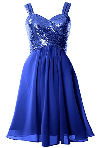 MACloth Gorgeous Sequin Short Bridesmaid Dress Cowl Back Cocktail Formal Gown Royal Blue