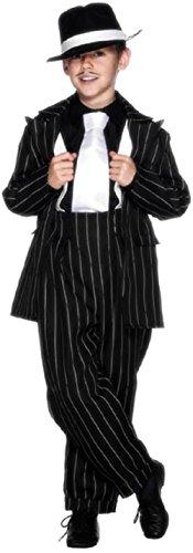 Jahre 20s Zoot Anzug GANGSTER Gangsta Mafia Bugsy Malone Kostüm Kleid Outfit - Schwarz/weiß, 10-12 Years (1920s Gangster Kostüm Herren)