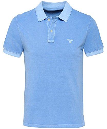 GANT Herren T-Shirt Sunbleached Piqué Rugger, Blau (Lava Blue), XX-Large (Pigment-piqué)