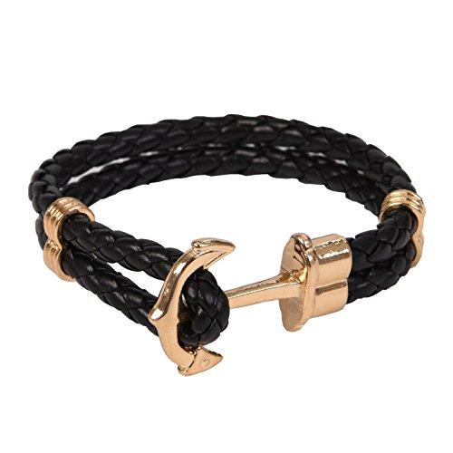 Gold Classic Anchor Braided leather bracelet Black for Men