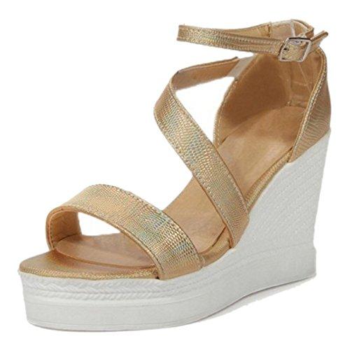 Taoffen Keilabsatz Sandalen Damen Shoes Schnalle Fesselriemen Gem¨¹tlich Gold Zq4rRZ