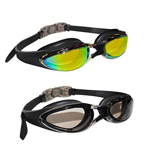 2er-Set Schwimmbrillen mit Verstellbaren Silikonbändern - Triathlon Brille - Schutzbrillen mit 2 Paar Ohrstöpseln - Schwimmbrille mit Antibeschlag und UV-Schutz für Männer, Frauen und Erwachsene