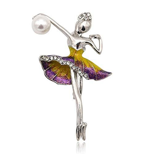 Stein Urlaub Kunst Kostüm - CCJIAC Broschen Frauen Silber Farbe Metall Strass Elegante KostümTänzerin Große Emaille Pin Brosche Schmuck