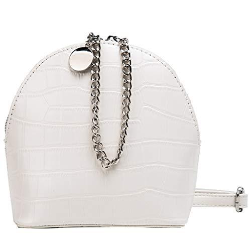 Frauen Plissee Print Solid Color Chain Zipper Messenger Bag Umhängetasche Damen Tasche Leder Handtasche Schultertasche Henkeltaschen Tote Tragetaschen Mini Handbag (Weiß) -