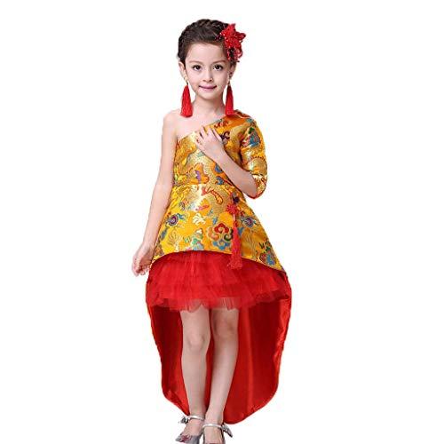 BalBalletttanzkleider, Übungskleider Mädchen Zeigen Kleidung Dragon Brocade Rock chinesischen Kostüm Robe Puff Princess (Color : Red, Size : 160) -