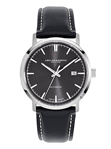 Abeler & Söhne Made in Germany Men's Automatic Watch with Leather Strap, Sapphire Glass and Date AS2653