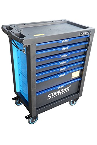 Stahlmayer Werkzeugwagen bestückt | höchste Qualität | Mobiler Werkstattwagen mit Werkzeug | Professional-Line, Farbe:Blau