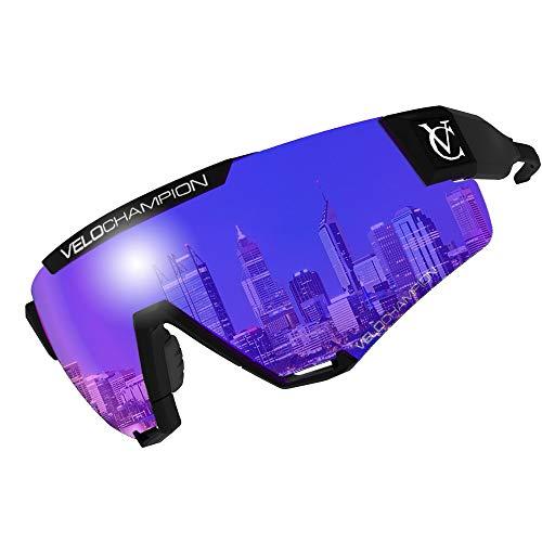 VeloChampion offizielle Cyclone-Sonnenbrille mit 4 Linsen, blauem Spiegel, schattiertem Schwarz, gelbem Nachtsichtgerät, Clear Tactical, Sportradfahren