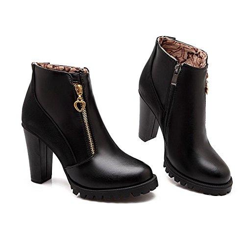 VogueZone009 Damen Blend-Materialien Niedrig-Spitze Rein Reißverschluss Stiefel Schwarz