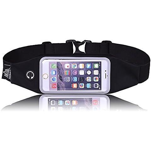 LaTEC la banda en funcionamiento paquete de la cintura con el claro de la pantalla táctil y el auricular del agujero, Sweatproof reflectante Bolsa de fitness para ejercitar, correr, caminar, Funda Universal Fit para el iPhone 7 Plus / 6S / 6 Plus, Galaxy S7 Edge, S6 teléfonos inteligentes de menos de 6
