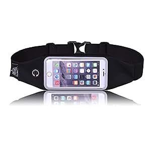 LaTEC Running Belt Waist Pack Touch Screen e foro per auricolare, Riflette il nostro cellulare ottimo per corsa, trekking. Custodia universale adatta per iPhone 7 Plus/6S/6 Plus, Galaxy S7 Edge, S6 per smartphone con meno di 6 pollici
