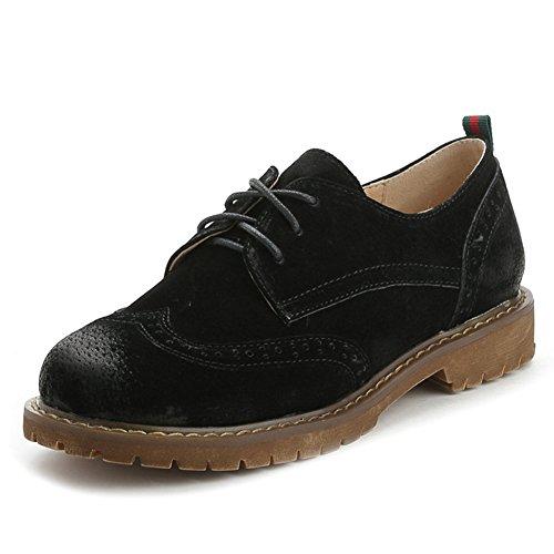 Damen Schnürhalbschuhe Bullockmuster Schnürer Halbschaft Blockabsatz Frühling Sneakers Schwarz