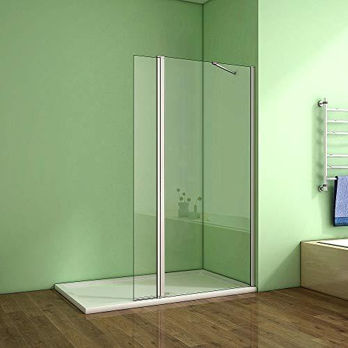 70x195cm Walk in Duschwand Duschabtrennung Duschtrennwand 8mm Nano Glasmit bewegliche Duschglas 30cm
