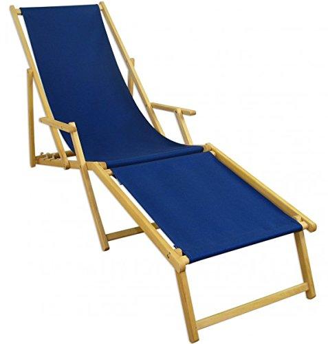 Erst-Holz Liegestuhl blau Sonnenliege Gartenliege Fußteil Deckchair Strandstuhl Buche klappbar...