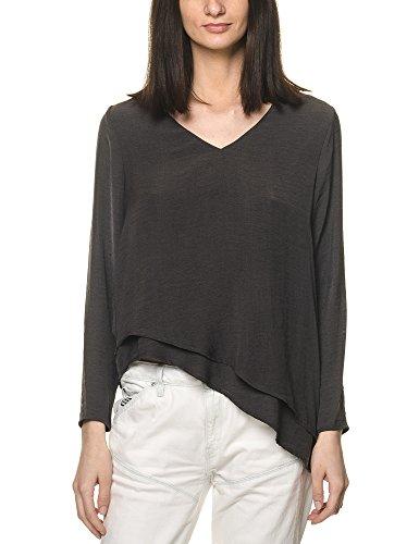 Only Women's Kaia Orion Women's White Assymmetrical Blouse 100% Polyester Black