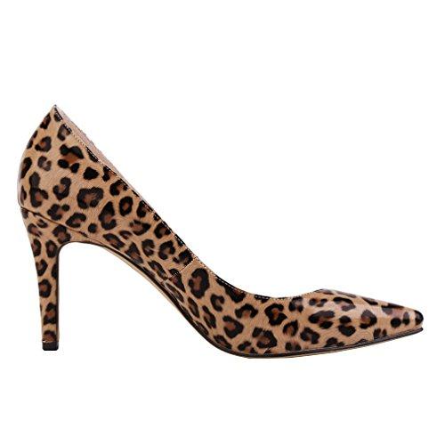 Xianshu Women Patent Leather High Heel Shoes Pointed Toe Shallow Mouth Stiletto Pumps(Leopard-38 EU) Leopard Patent High Heel