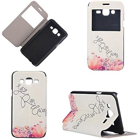 Galaxy J5 Case Cover Carcasa ,IJIA Blanco Flor Caso PU Cuero Cubierta Opinión Ventana Soporte Del Tirón Funda Tapa Para Samsung Galaxy J5 SM-J500F + 24K Etiqueta Engomada