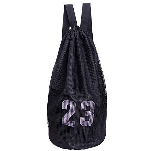 COSTOM Basketball Kordelzug Tasche Ausrüstung Rucksack für Fußball, Basketball, Fußball, Volleyball Aktivitäten, Schwarz, Schwarz
