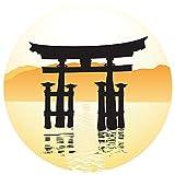 Wandtattoo Asien Tor mit Sonnenuntergang Wandsticker Wanddeko Wohnzimmer Deko