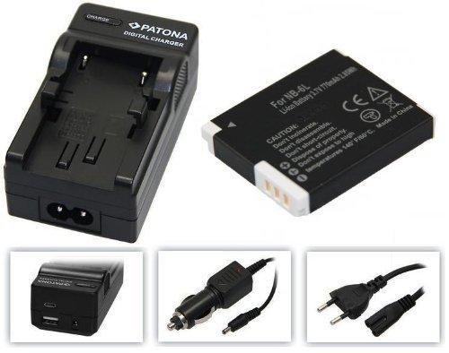 3in1-SET für die Canon PowerShot SX610 HS und SX710 HS --- Akku baugleich NB-6L + 4in1 Ladegerät (u.a. mit USB / micro-USB und Kfz/Auto) + PATONA Displaypad