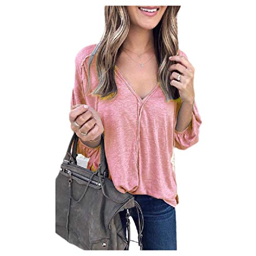 CuteRose Women's V-Neck Pure Color Puff Sleeve Blouse Tunic Tops Pink S -