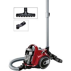 Bosch BGC05AAA2 GS05 Cleann'n Aspirador sin Bolsa, Diseño Ultra-Compacto, Filtro Hepa H12 Lavable, Cepillo Especial Suelos Delicados, 700 W, 1.5 Litros, 78 Decibeles, Rojo y Negro