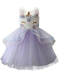 IWEMEK Niña Princesa Vestido Unicornio Disfraz de Cosplay para Fiesta Carnaval Bautizo Cumpleaños Comunión Boda 1