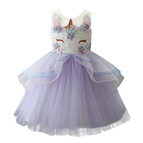OBEEII Mädchen Einhorn Kostüm Cosplay Kleid Party Outfit Kostüm Prinzessin Tutu Rock für Festival Performance Geburtstag Karneval Halloween Fotoshooting für Kinder Jugendliche 2-3 Jahre Violet (Violett Halloween-kostüm)