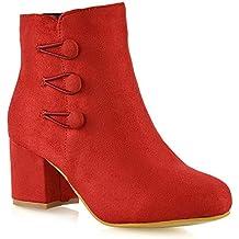 9285dc81be ESSEX GLAM Frauen Reißverschluss Mittel Niedrige Block Absatz Schuhe Damen  Zuknöpfen Rund Knöchel Stiefel
