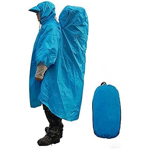 Nuevo Acampar al Aire Libre Senderismo Mochila Impermeable de Una Sola Pieza Cubierta de Mochila del Cabo del Poncho (azul)