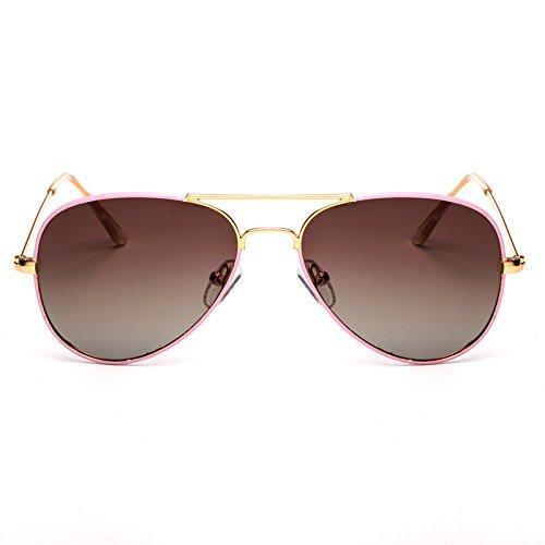 Y-WEIFENG Kind Sonnenbrille Fashion Pilot Sonnenbrille Kinder Polaroid Sonnenbrille Jungen Mädchen Kinder Baby Brille UV400 Spiegel (Color : Pink)