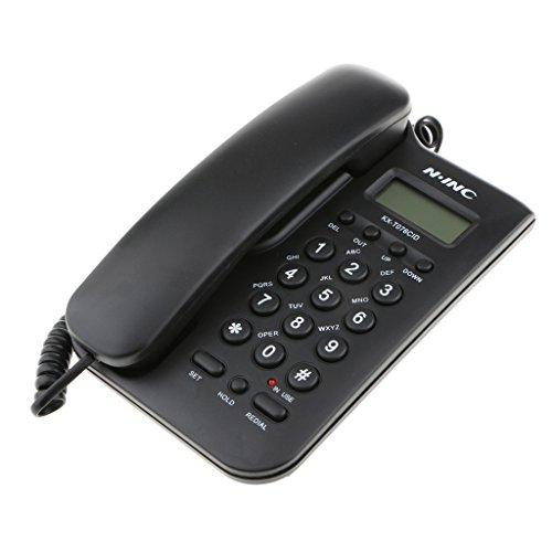 MagiDeal Trimline Telefon Schnurgebundenes Festnetztelefon wandhängend Schnurtelefon FSK / DTMF Anruferanzeige Keine Batterie erforderlich - Schwarz