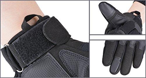 Coofit Taktische Handschuhe Winter Motorrad Handschuhe Herren Vollfinger Army Gloves Biking Skifahre Handschuhe (Schwarz, L) - 5