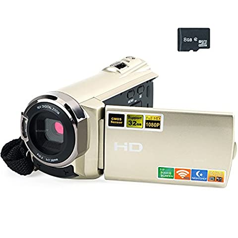 WISEUP 8GB 3.0 Berührungsempfindlicher Bildschirm 1080P HD Digitaler Videokamera DV Camcorder Unterstützung Smartphone und Tablet P2P Ansicht und