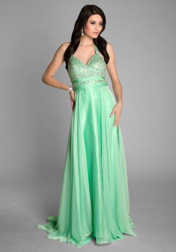 VIP Dress Superbe robe de bal à encolure pailletée Vert